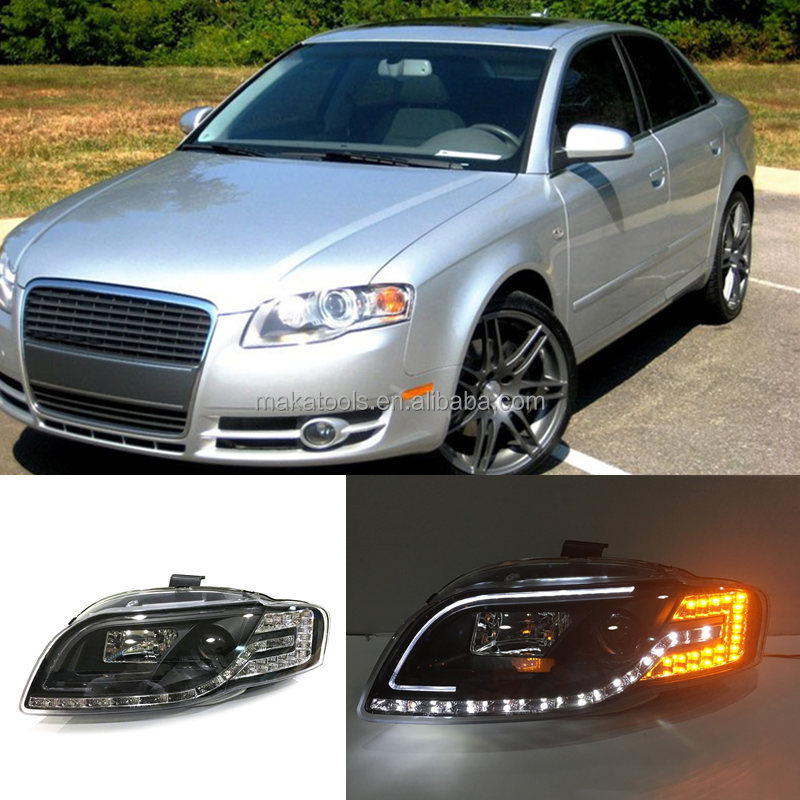 For Audi A4 B7 2005-2008 LED High+Low Beam Assembly Headlight Bi Xenon Projector