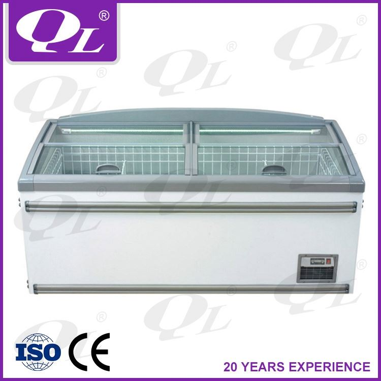 Supermarket display chiller and freezer OEM factory island freezer frozen food showcase