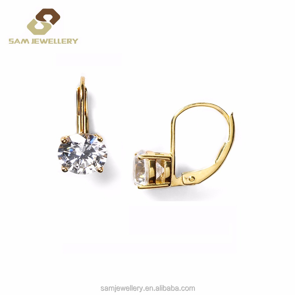 Simple Beautiful <strong>18</strong> <strong>K</strong> Gold Plated Clip Earring with Round CZ in 925 Sterling Silver jewelry