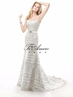 2015 Picture of latest Gowng Designs Wedding Dresses/Appliqued Sequins Strapless Girls Wedding Dresses France/Paris