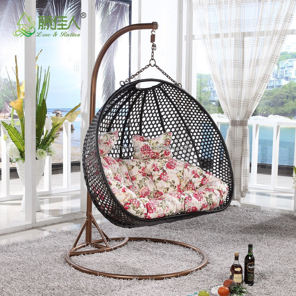 Indoor outdoor patio jard n living sala de rattan mimbre for Sillas colgantes para jardin