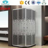 Fast Delivery Stock Shower Cabin Folding Pivot Shower Tempered Glass Doors With Stone Sill