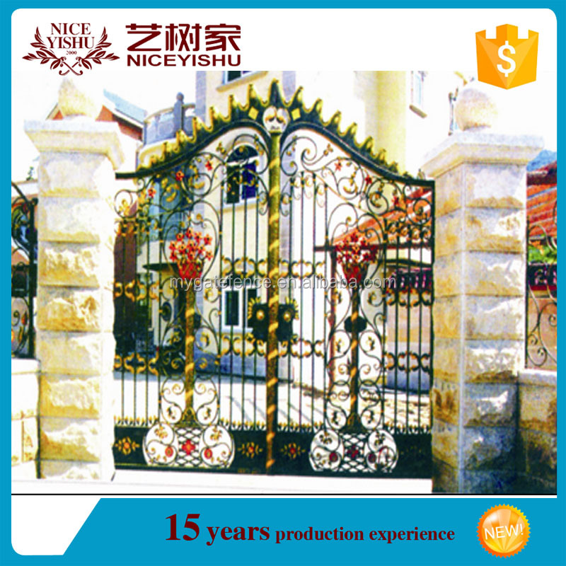 2016 new design modern iron gate designs,tubular gate design,security used wrought iron door