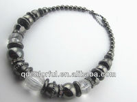 YN5385 follow to trends acrylic and hematite beaded necklace silver jewelry custom