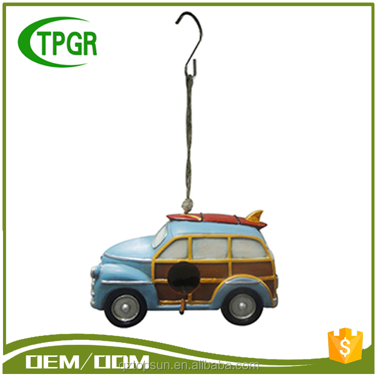 Wholesale Polyresin Figurines Hanging Car Bird House Hang Statue Bird House For Decoration