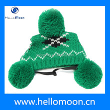 2015 Best Design Warm Christmas Green Knit Dog Hats