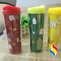 Double wall plastic promotional anti-proof color change water bottle