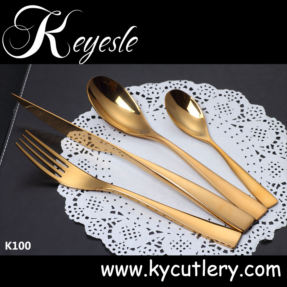 Rose gold of 72pcs cutlery set, gold plated flatware