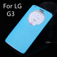 Function Original Slim Quick Smart Circle View Shell Auto Sleep Wake Back Flip Cover Leather Holster Case For LG G3/D855/F400k