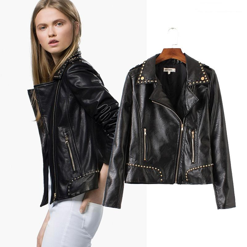 Amazon Women's Riding Motorcyle PU Leather Studded Bloods Jackets