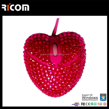 Top Selling Optical Wired USB rhinestone mouse,decorative computer mouse for computer laptop