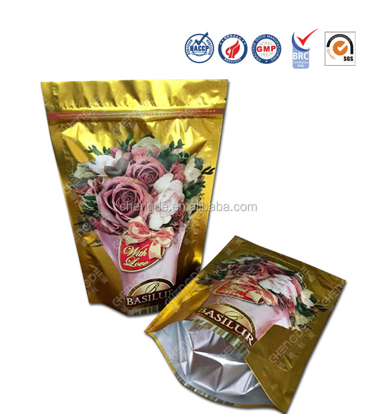 glossy foil empty tea bag,high quality flower tea bag packing, food pouch for tea