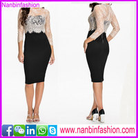 Lace night club dress and sleeve summer wear and cover up knee dress