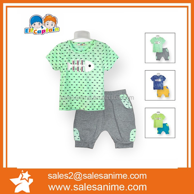 2015 Stylish designer children matching clothing sets short T-shirt pants with Fishbone pattern