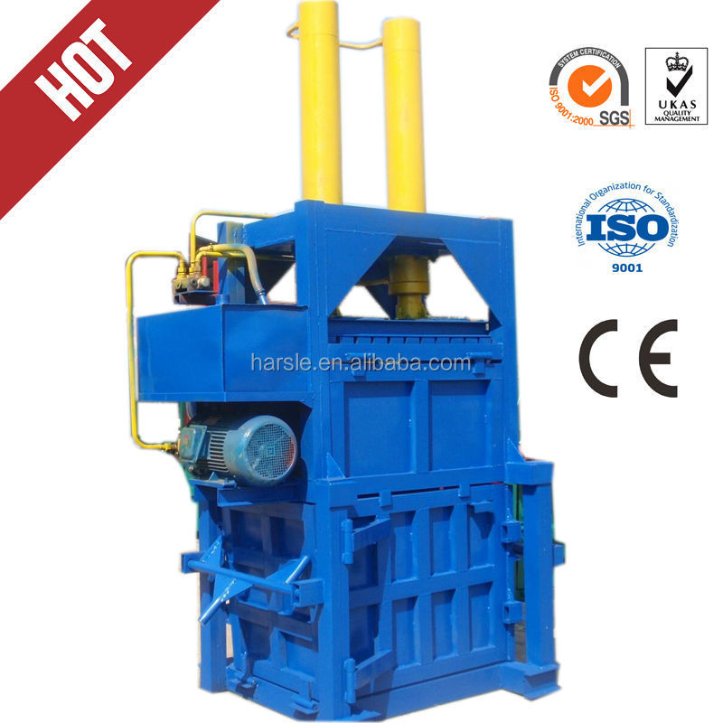 Hydraulic driven recycling vertical baler equipment /wool baling press machine/vertical waste paper plastic film baler