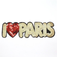 Wholesale embroidery iron patch Sequin letters patches for dresses