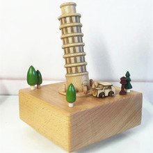 Handmade Wooden Music Box,wedding Music Box,holiday Gifts Box Princess the Leaning Tower of Pisa Box Caixa De Musica Bailarina