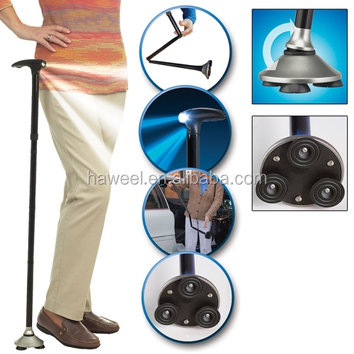 Ultra-light Handle Dependable Walking Magic Foldable Trusty Cane with Built-in Light