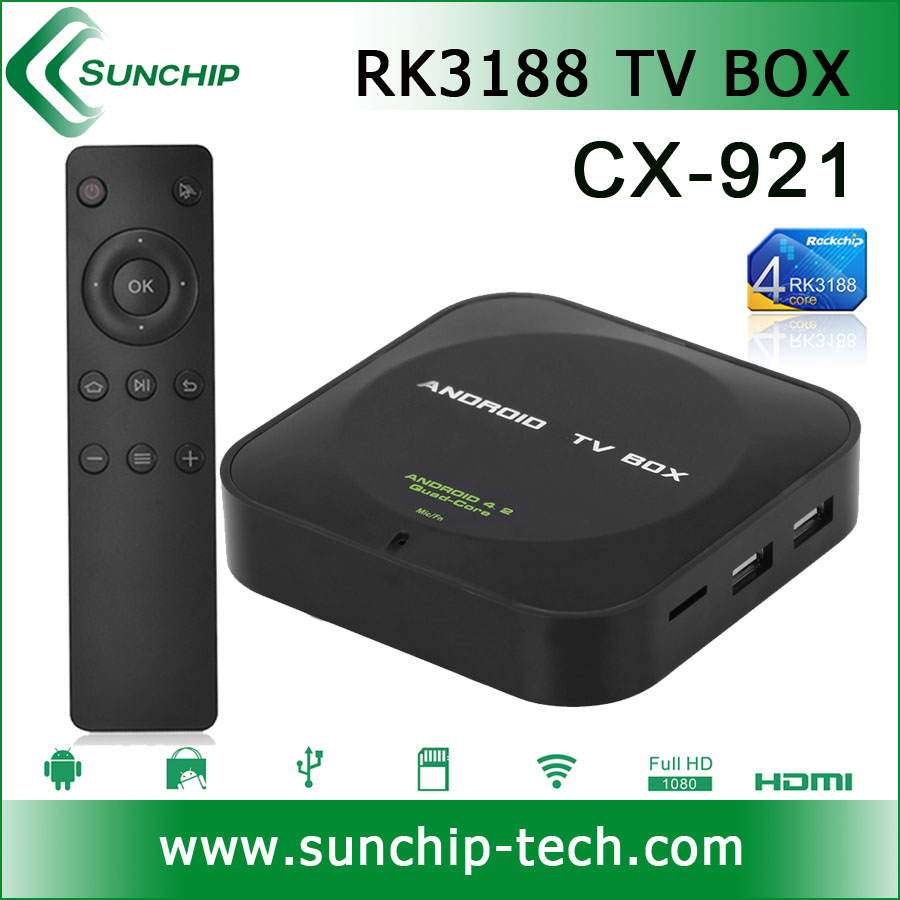 SUNCHIP CX-921 Android 4.4 NEW OS RK3188 Quad Core ARM A9 1.8GHz TV Box 1GB RAM 8GB ROM Wifi HDMI