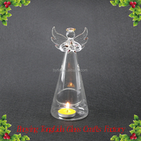 Clear tall long glass angel candle holder wholesale