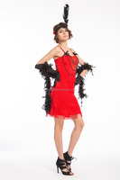 Walson Instyles ADULT WOMEN RETRO 20S 30S SEX XXL RED FLAPPER FANCY DRESS COSTUME