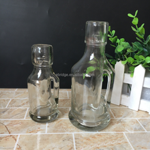 220ml beverage juice beer water bottle mini swing top glass bottle with stopper with handle