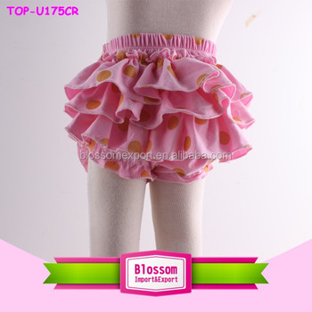 2016 New fashion boutique wholesale infant gold polka dot pink baby girls bloomers
