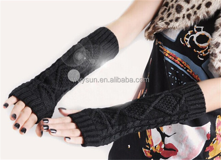 Knit Fingerless Gloves Open Ended Thumb