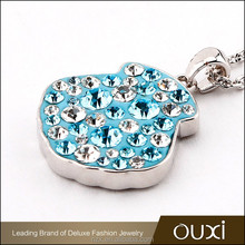 OUXI 2017 Wholesale price High quality shell charming AAA zircon changeable pendant necklace 16183