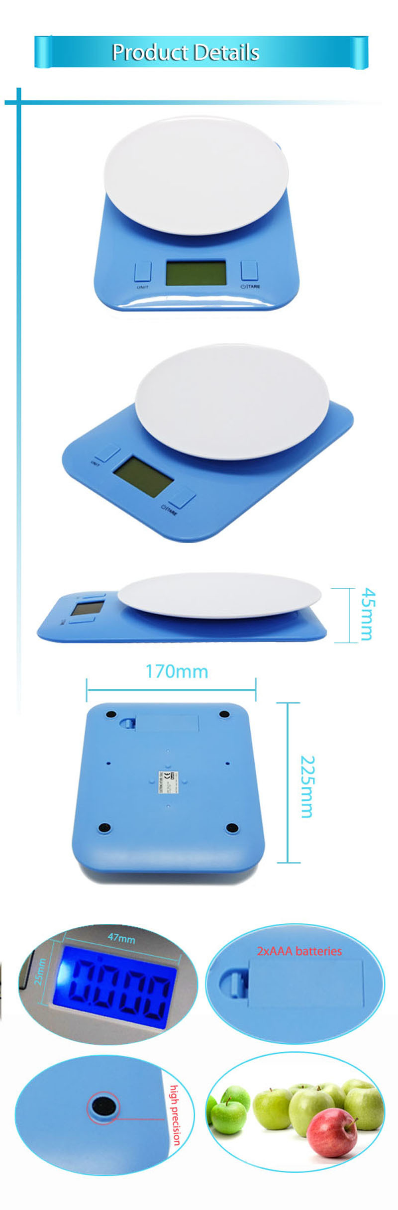 Sunny Hot Sale 3 kg Digital Food Scale