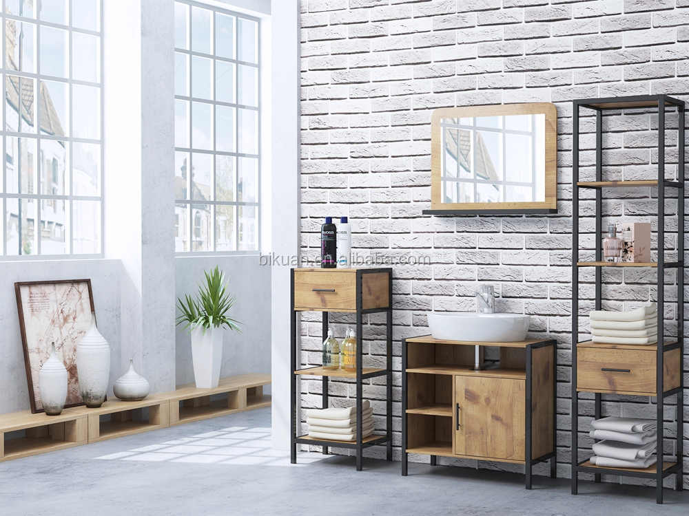 Wood KD bathroom furniture sets with mirrow cabinet and undersink storage and tall cabinet