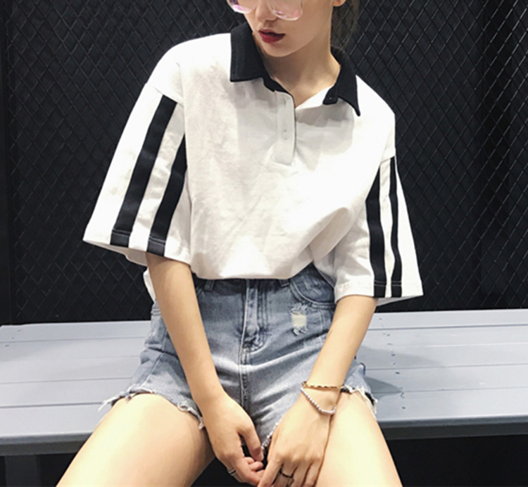 Short-Sleeve Turn-down Polo Collar Buttons Casual Cool Stripe Tops Summer Sportwear Cotton Women T-Shirts
