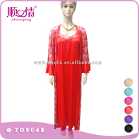 Red printed long sleeve dress sleepwear pajamas abaya for ladies