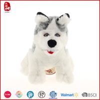2015 high quality realistic plush toy husky dog for sale as gift