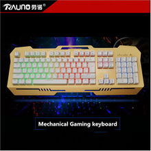 2017 Hot Sale 7 Color Backlight Standard Wired Mechanical Gaming Keyboard with Full Aluminium Alloy Plate