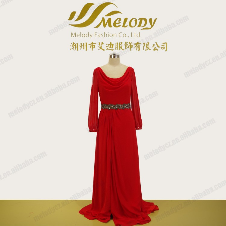 Deep red roma neckline long sleeves beaded simple evening dress for muslim women