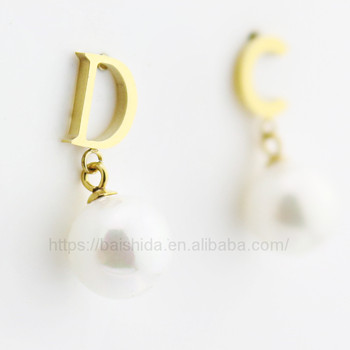 Latest Design Pearl Stylish Letter Shape 18k Gold Jewelry Earring