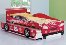 2014 latest boys sport racing car bed is design for children in E1 MDF board and colorful painting
