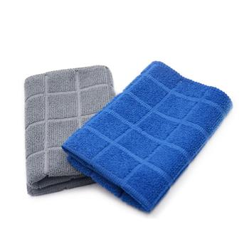 In stock 100% polyester microfiber square lattice household towel