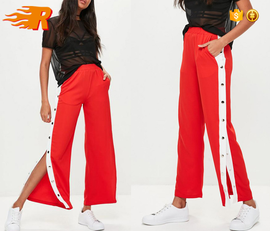 Wholesale Polyester Custom Womens Side Snap Buttons Sport Striped Track Pants