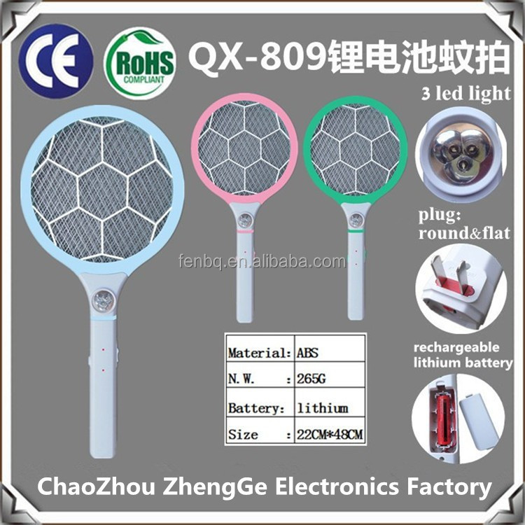 QX809-6 rechargeable electric mosquito bat wire fly swatter Bug Zapper Racket