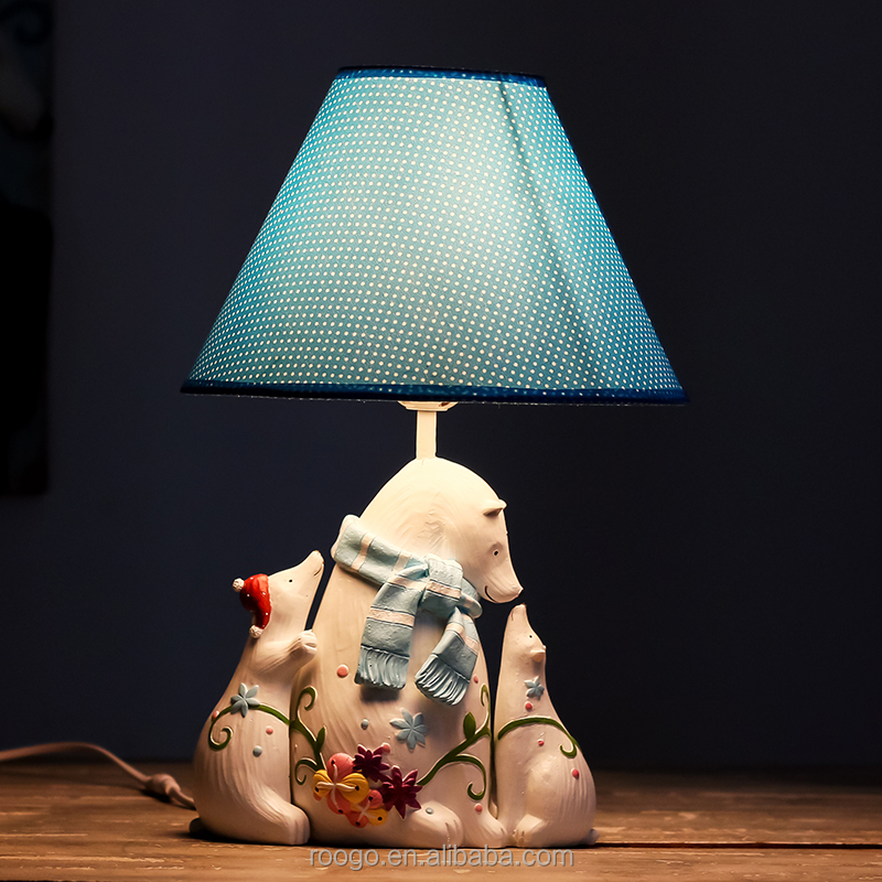 Roogo resin new products love polar bear family table lamps