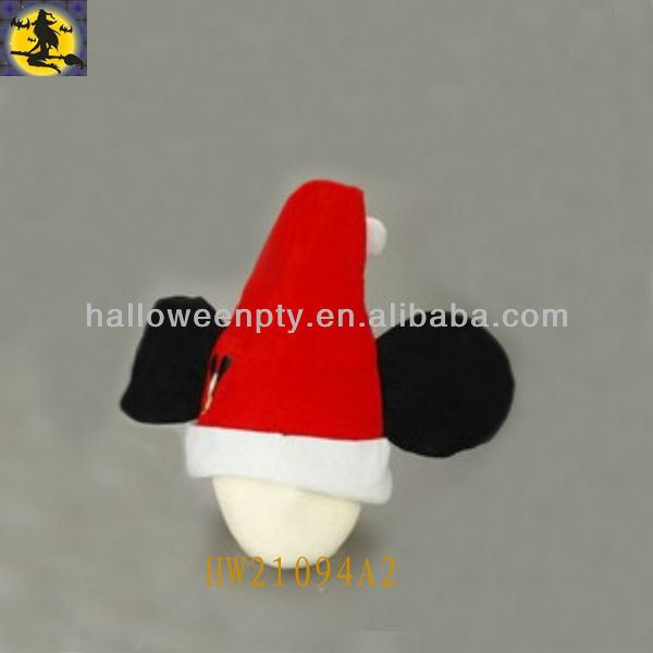 Fancy Short Floss Santa Hat with Big Mickey Ears