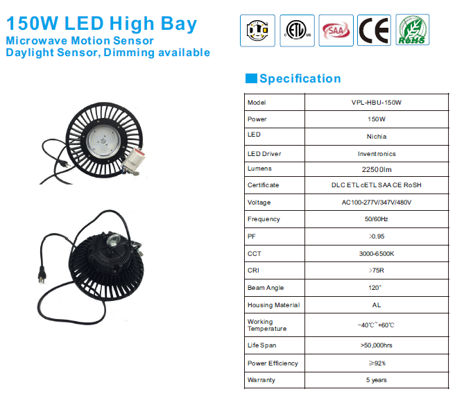 5 years warranty 130lm/w 100w 150w 200w ufo led high bay light