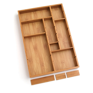 Bamboo Adjustable Storage Drawer Organizer with 6 Dividers