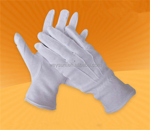 100% cotton white work gloves etiquette command parade driver three tendons gloves
