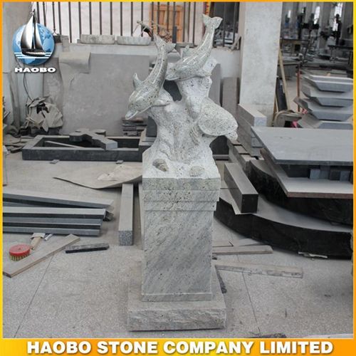Haobo Stone Grey Carved Dolphins Monument and Memorial