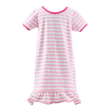 New arrival modern girls short sleeve stripe ruffle boutique dresses fashion simple kids clothes