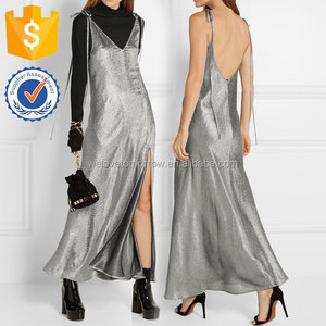 Silver Plunging Neckline Stretch Silk-blend Lame Maxi Dress Manufacture Wholesale Fashion Women Apparel(TS0089D)