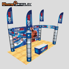 3 * 3 Trade show booth with spiral tower stands and fabric banner wall easy set up recycling and reuse